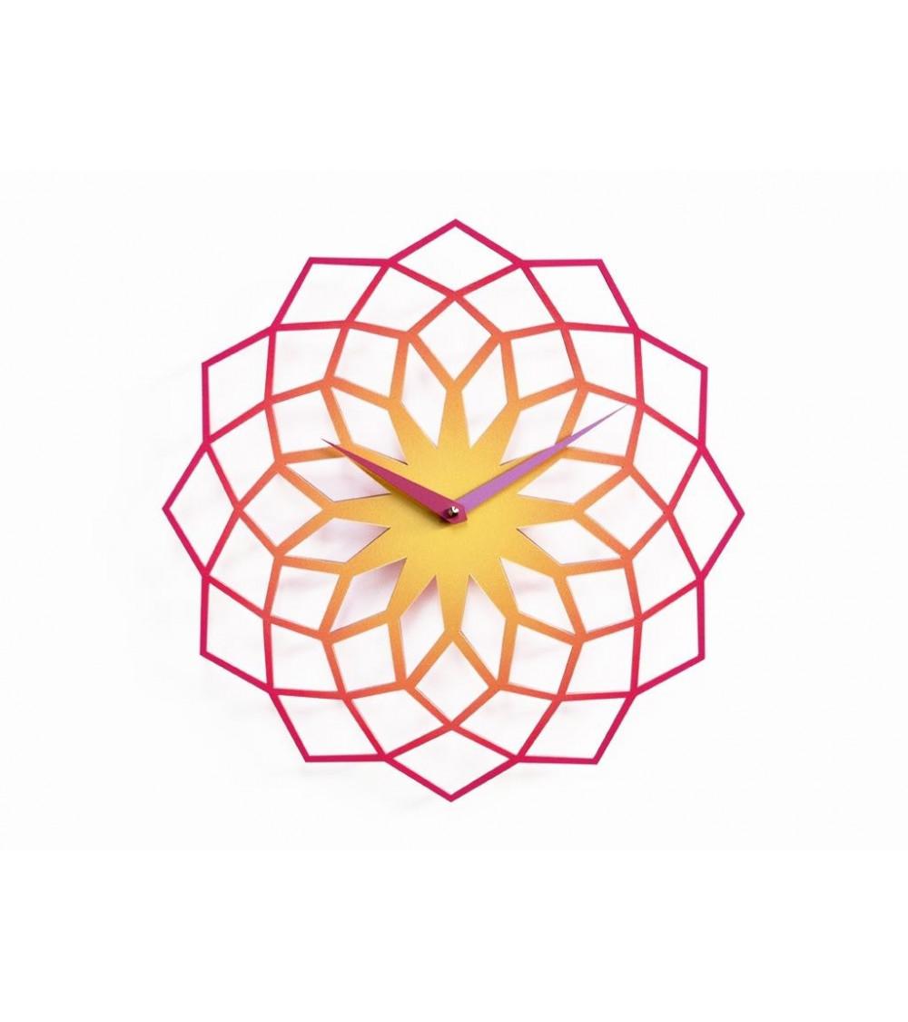 Orologio da parete viola e arancio Progetti 25th Skallop