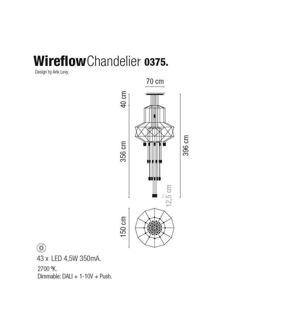 Scheda tecnica Lampada a Sospensione Vibia wireflowChandelier 0375