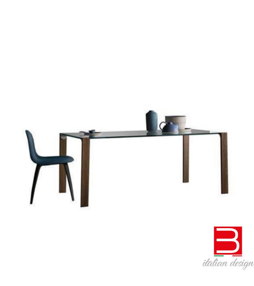 Table Tonelli Livingstand wood-top in vetro extrachiaro